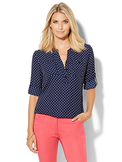 Soho Soft Shirt - Blouson-Hem Popover - Polka Dot  - New York & Company