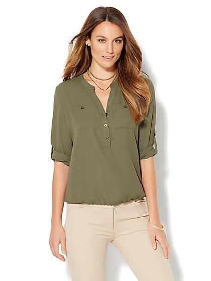 Soho Soft Shirt - Blouson-Hem Popover  - New York & Company