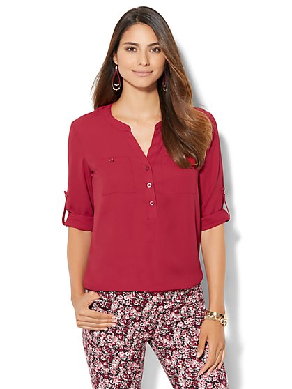 Soho Soft Shirt - Bubble-Hem Blouse  - New York & Company