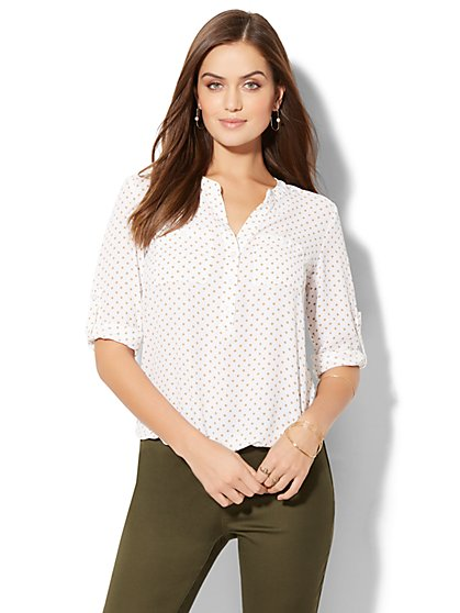 Soho Soft Shirt - Bubble-Hem Blouse - New York & Company