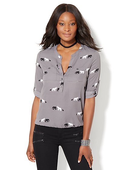 Soho Soft Shirt - Bubble-Hem Popover - Elephant Print - New York & Company