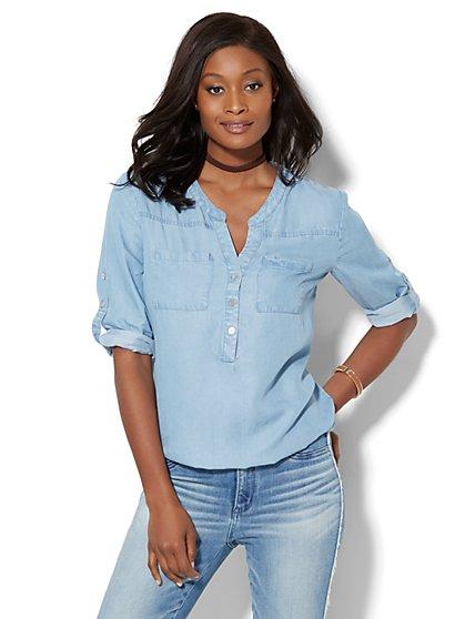 Soho Soft Shirt - Bubble-Hem - Ultra-Soft Chambray - New York & Company