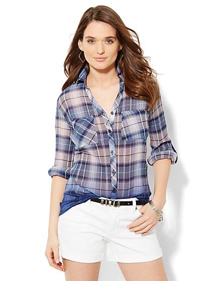 Soho Soft Shirt - Button-Front - Ombré Plaid  - New York & Company