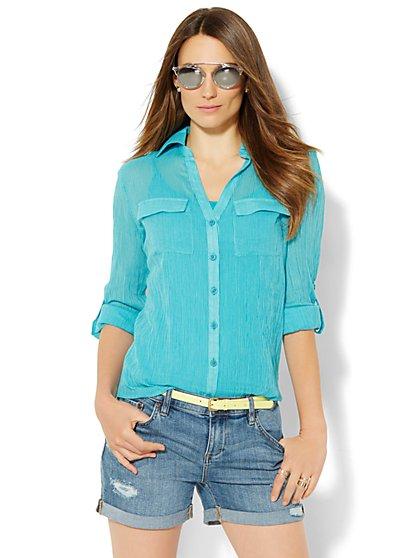 Soho Soft Shirt - Button-Front - Pinstripe - New York & Company