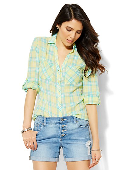 Soho Soft Shirt - Button-Front - Yellow Plaid  - New York & Company