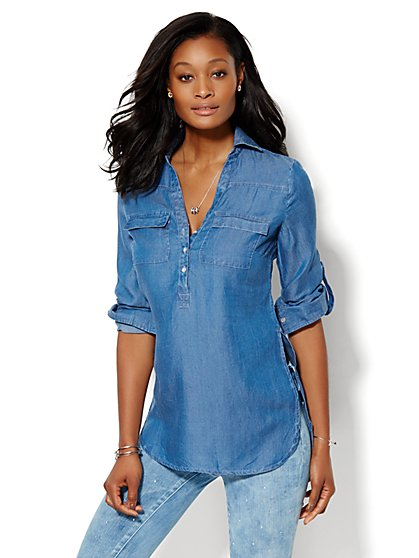 Soho Soft Shirt- Chambray Tunic- Dark Marble  - New York & Company