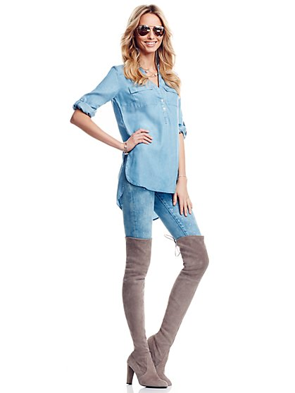 Soho Soft Shirt- Chambray Tunic- Light Marble  - New York & Company