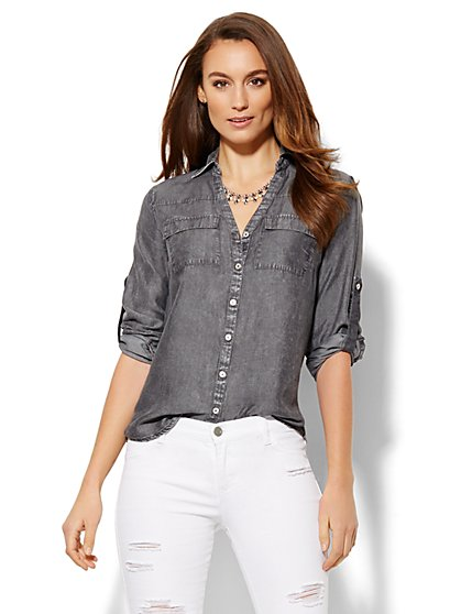 Soho Soft Shirt - Charcoal  - New York & Company