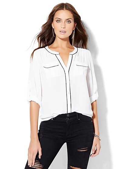 Soho Soft Shirt - Collarless - Piping Trim  - New York & Company