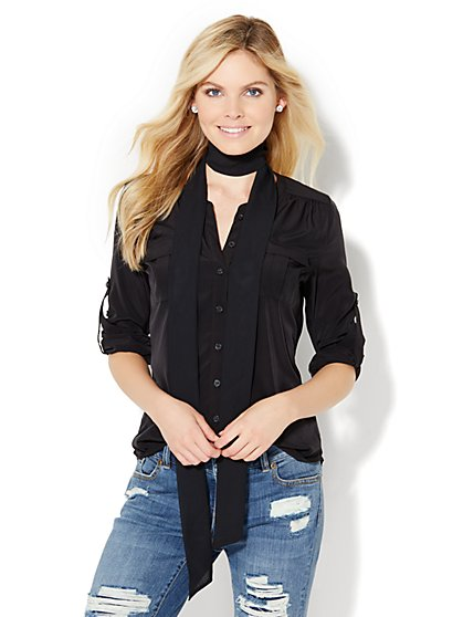 Soho Soft Shirt - Collarless - Solid - New York & Company