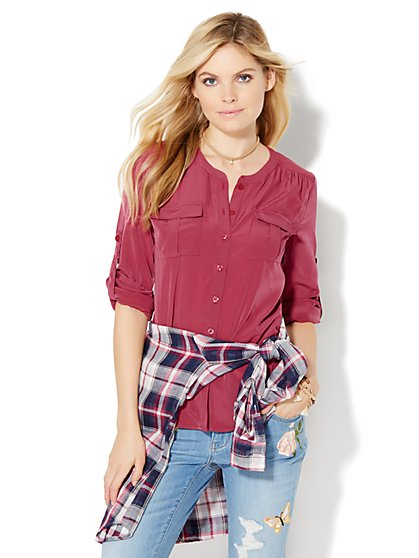 Soho Soft Shirt - Collarless - Solid - New York & Company