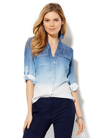 Soho Soft Shirt - Dip-Dye Ombré Wash - Petite  - New York & Company