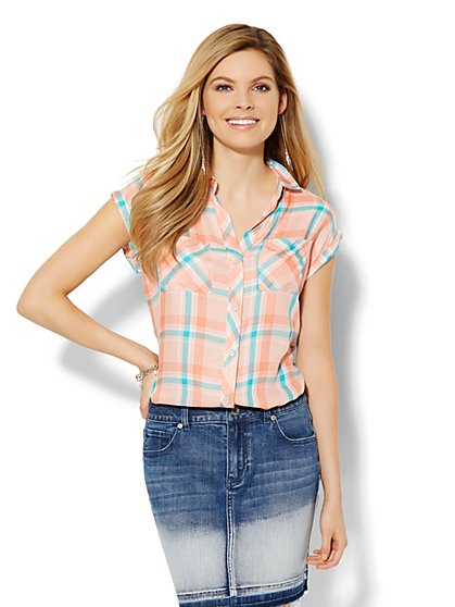 Soho Soft Shirt - Double-Pocket - Plaid  - New York & Company