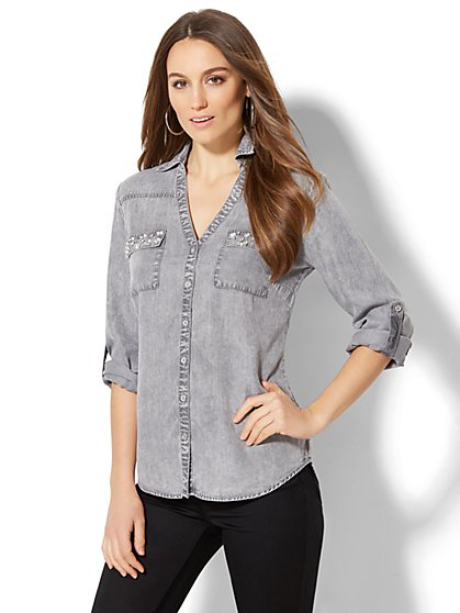 Soho Soft Shirt - Embellished Pocket - Stone Grey Wash - New York & Company