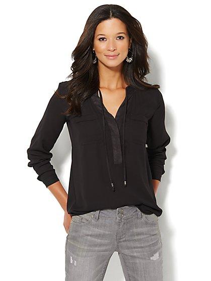 Soho Soft Shirt - Faux-Suede Trim Popover - New York & Company