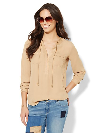 Soho Soft Shirt - Faux-Suede Trim Popover - New York & Company