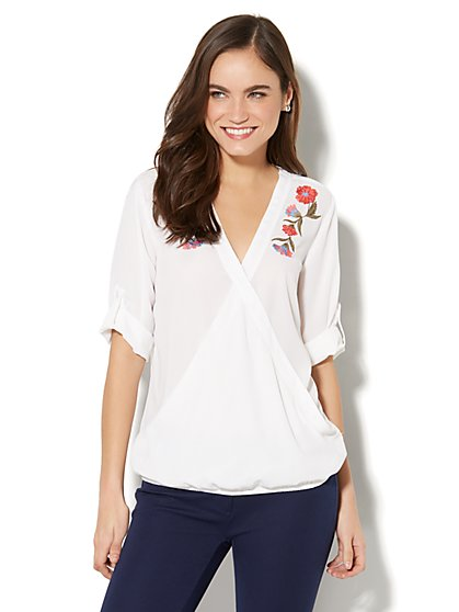 Soho Soft Shirt - Floral-Embroidered Wrap-Front Blouse - White - New York & Company