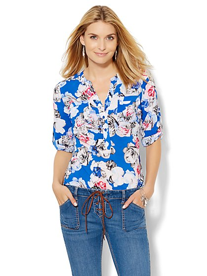 Soho Soft Shirt - Floral Popover Blouse  - New York & Company