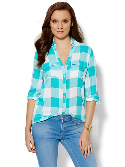 Soho Soft Shirt - Gingham Print  - New York & Company