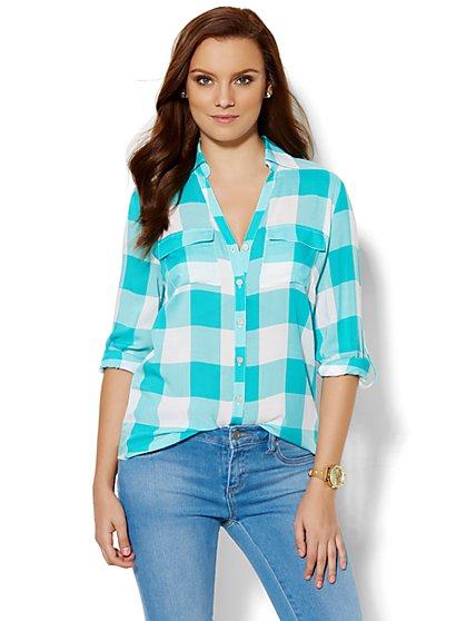 Soho Soft Shirt - Gingham Print  - New York & Company