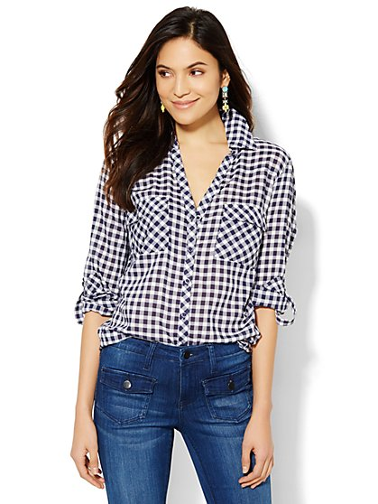 Soho Soft Shirt - Gingham  - New York & Company