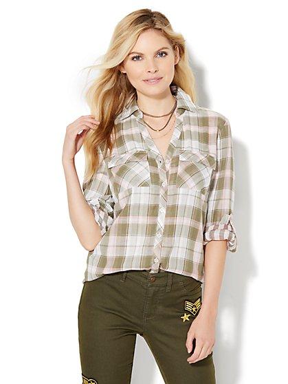 Soho Soft Shirt - Hi-Lo - Plaid  - New York & Company