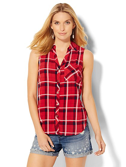 Soho Soft Shirt - Hi-Lo Tunic - Plaid  - New York & Company
