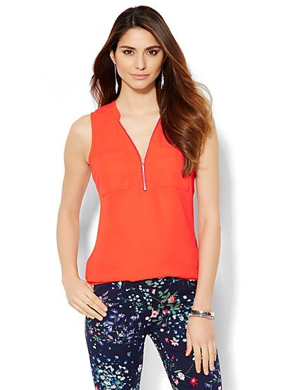 Soho Soft Shirt - Hi-Lo - Zip-Front - Solid  - New York & Company