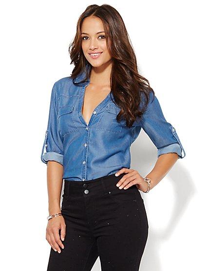 Soho Soft Shirt - Indigo Blue Wash - New York & Company