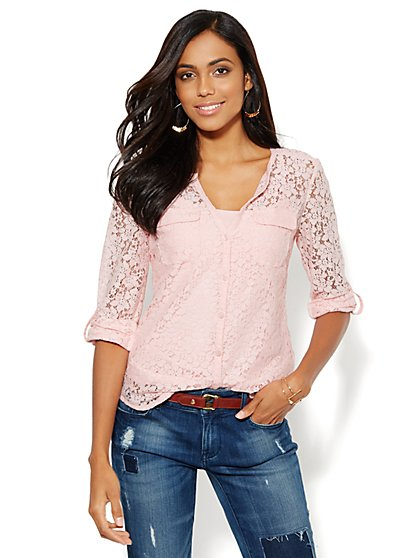 Soho Soft Shirt - Lace - Split-Neck - New York & Company