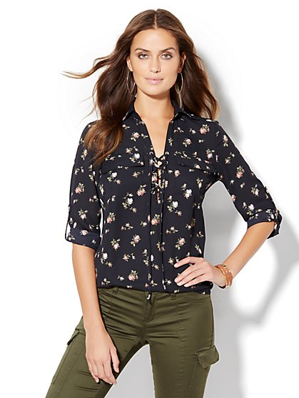 Soho Soft Shirt - Lace-Up - Floral  - New York & Company