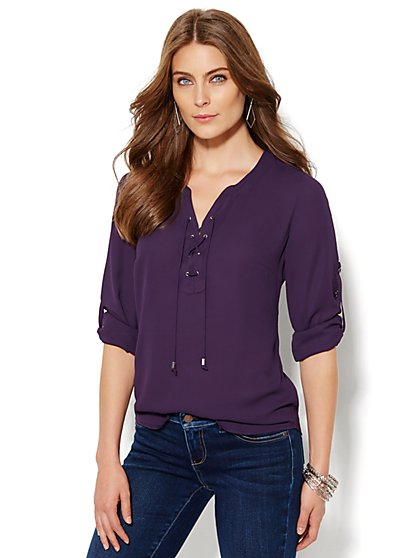 Soho Soft Shirt - Lace-Up Popover - New York & Company