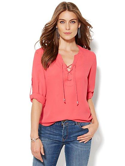 Soho Soft Shirt - Lace-Up Popover - New York & Company