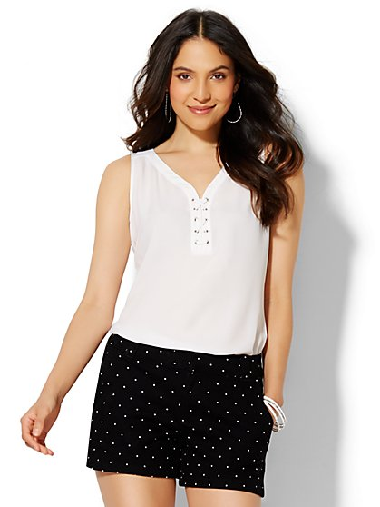 Soho Soft Shirt - Lace-Up Top  - New York & Company