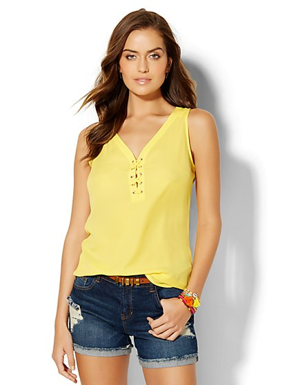 Soho Soft Shirt - Lace-Up Top  - New York & Company