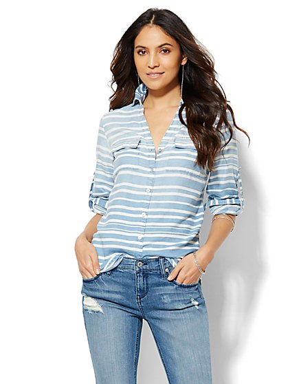 Soho Soft Shirt - Light Indigo - Stripe - Petite   - New York & Company