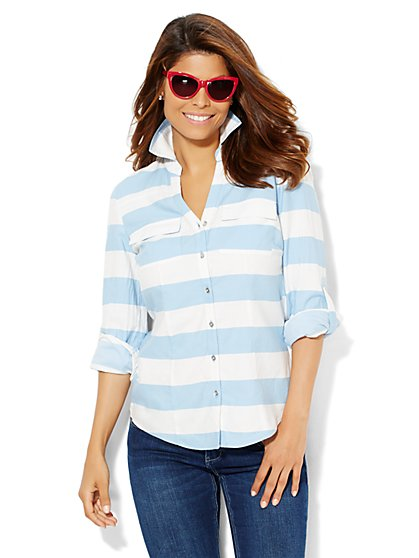 Soho Soft Shirt - Light Indigo - Stripe  - New York & Company