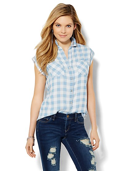 Soho Soft Shirt - Light Plaid Wash  - New York & Company