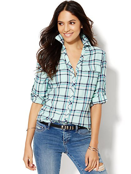 Soho Soft Shirt - Lurex Plaid  - New York & Company