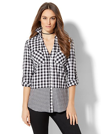 Soho Soft Shirt - Mixed-Plaid Print - New York & Company