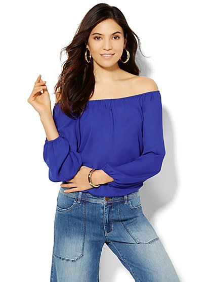 Soho Soft Shirt - Off-the-Shoulder Blouse - Solid - New York & Company