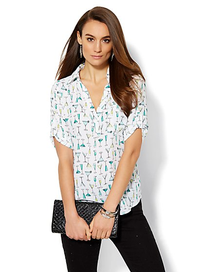 Soho Soft Shirt - One-Pocket Popover - Cocktail-Print  - New York & Company