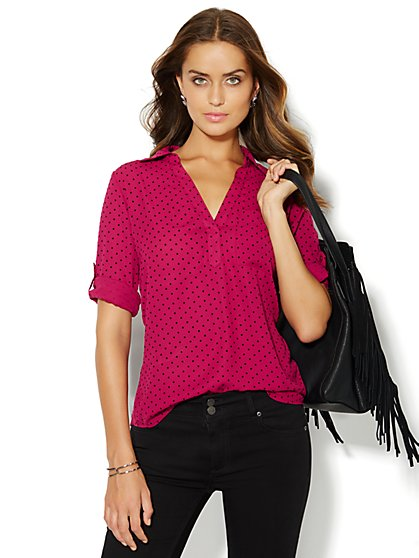 Soho Soft Shirt - One-Pocket Popover - Flocked Dot  - New York & Company
