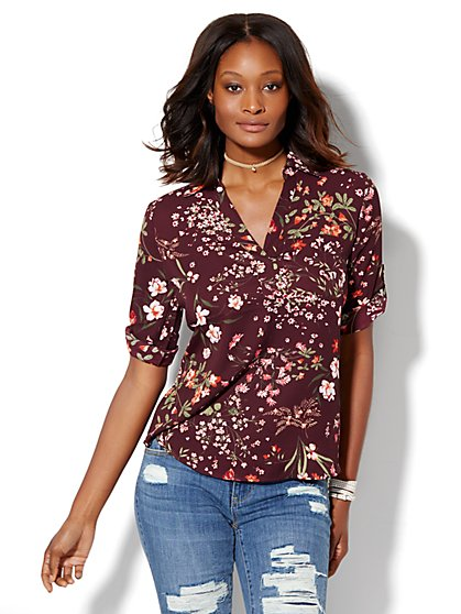 Soho Soft Shirt - One-Pocket Popover - Floral  - New York & Company