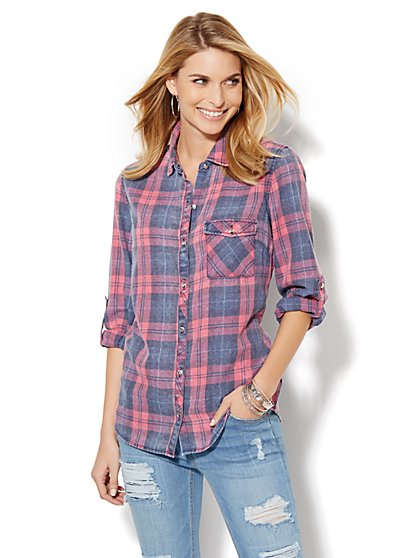 Soho Soft Shirt - One-Pocket Popover - Plaid - Grand Sapphire  - New York & Company