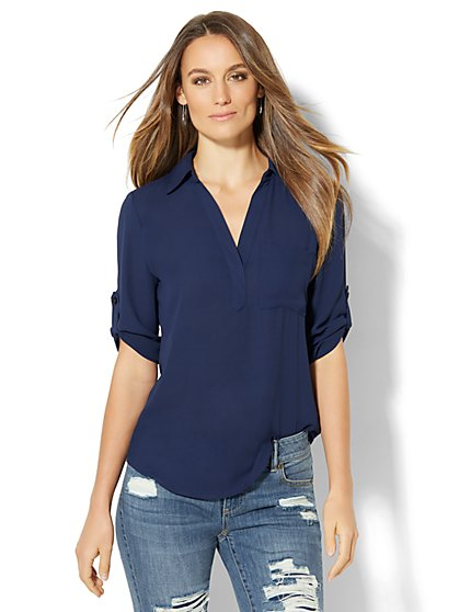 Soho Soft Shirt - One Pocket Popover - Solid - New York & Company