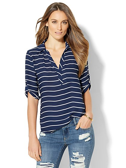 Soho Soft Shirt - One-Pocket Popover - Stripe  - New York & Company