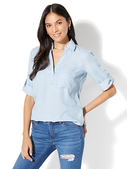 Soho Soft Shirt - One-Pocket Popover - Super-Soft Chambray Popover - Light Indigo Wash  - New York & Company