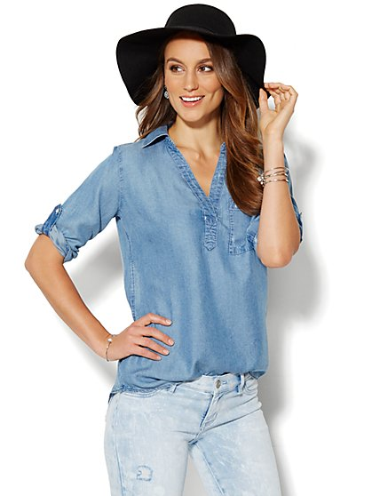 Soho Soft Shirt - One-Pocket Popover - Super-Soft Chambray - New York & Company