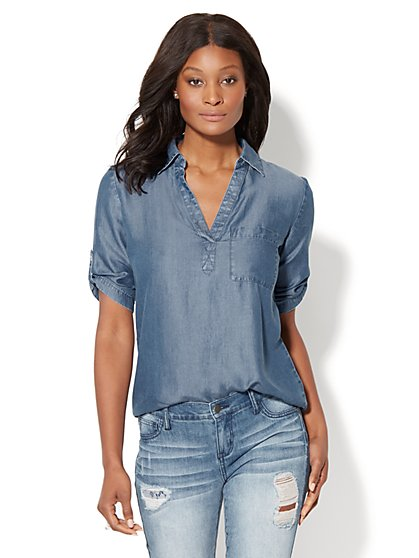Soho Soft Shirt - One-Pocket Popover - Ultra-Soft Chambray - New York & Company
